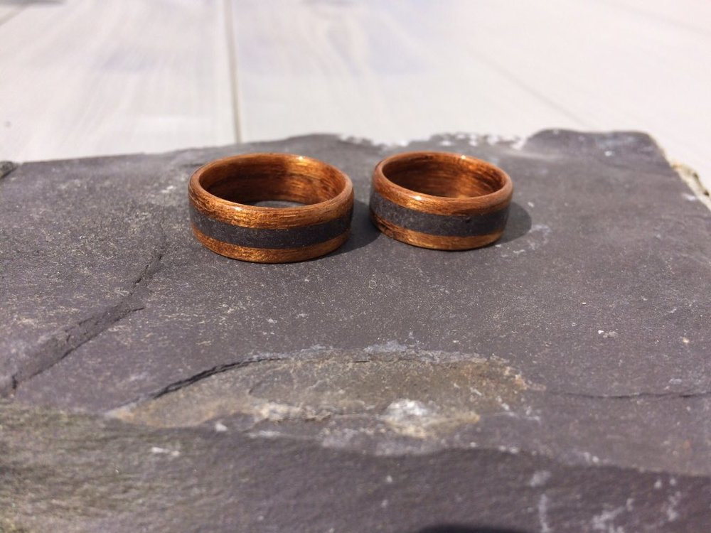 August 2018 - Two matching wedding rings, both amazique with Welsh slate inlays
