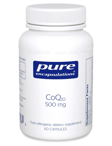 CoQ10 - The essential nutrient Coenzyme Q10 is a necessary component of cellular energy production and respiration. It is a component of the mitochondrial electron transport system, which supplies the energy required for a variety of physiological functions. Co Q10 provides support to all cells of the body, and is especially supportive of tissues that require a lot of energy, such as the heart muscle, periodontal tissue, and the cells of the body's natural defense system.