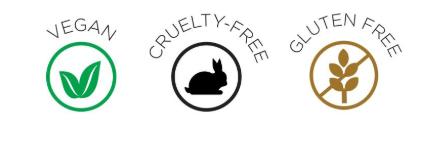 VEGAN, CRUELTY FREE, GLUTEN FREE