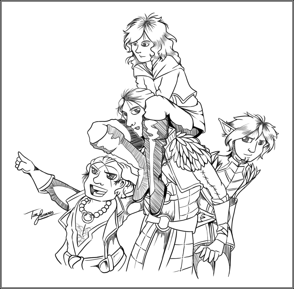 Day 28: Your Party in DA:O, DA2, or DA:I (Hawke, Anders, Fenris, and Varric)