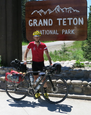 Matt Roy rides through the Grand Teton National Park with his 622 SLX fully loaded