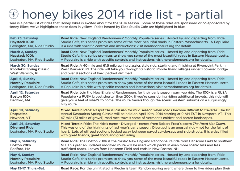Honey Bikes Ride Calendar