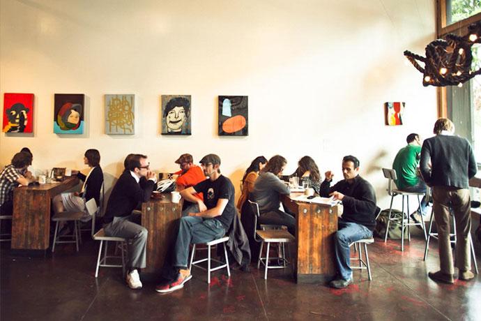 Customers mix and mingle at Four Barrel's Valencia St. location, image c/o fourbarre.com
