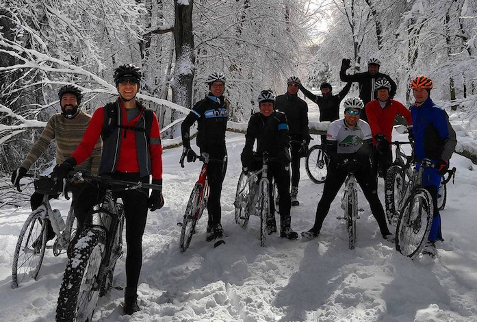 Group ride in Winter