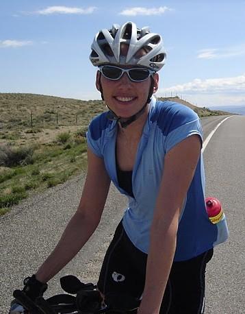 Lady road biker