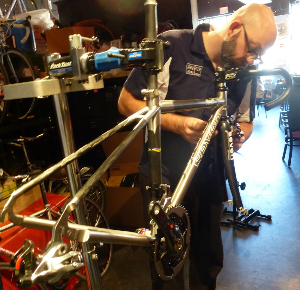 A bike in the build process.