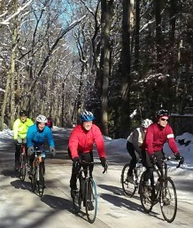 Group ride in the early spring. Photo by Jenny W.
