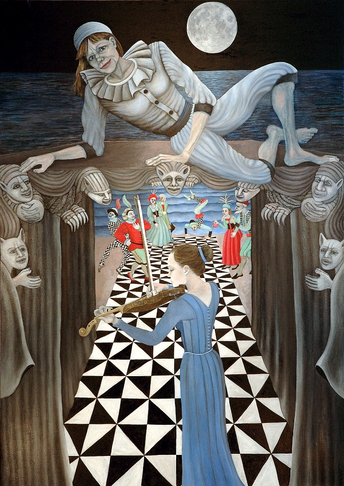 Pierrot Lunaire, 6 ft x 4 ft, 182.88 cm x 121.92 cm, oil on canvas.