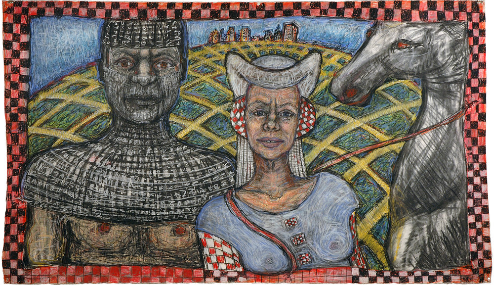 The Wife of Bath and her Knight, 42.5 in x 75 in, 108 cm x 190.5 cm, colored conte on paper.