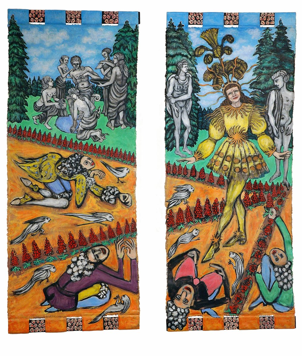 Ellen as Louis XIV as Apollo, 4.83 ft x 2 ft, 147.2184 cm x 60.96 cm each panel, oil on unstretched canvas.