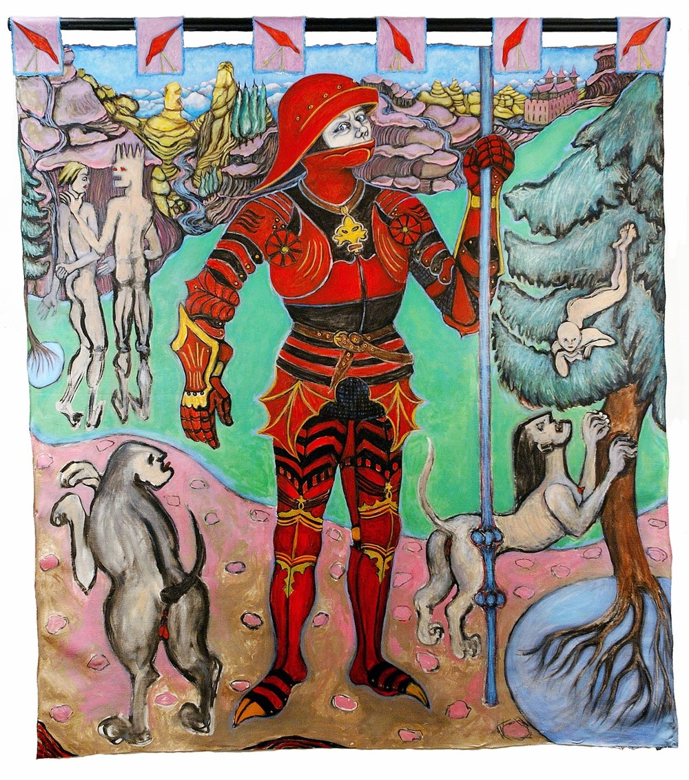 The Painted Knight 5.67 ft x 5.10 ft, 172.82 cm x 155.45 cm, oil on unstretched canvas.