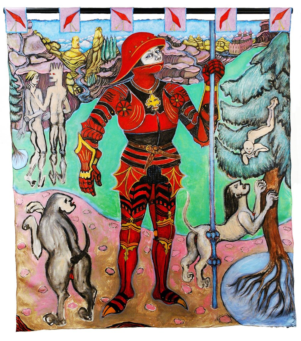The Painted Knight, 5.67 ft x 5.10 ft, 172.82 cm x 155.45 cm, oil on unstretched canvas.