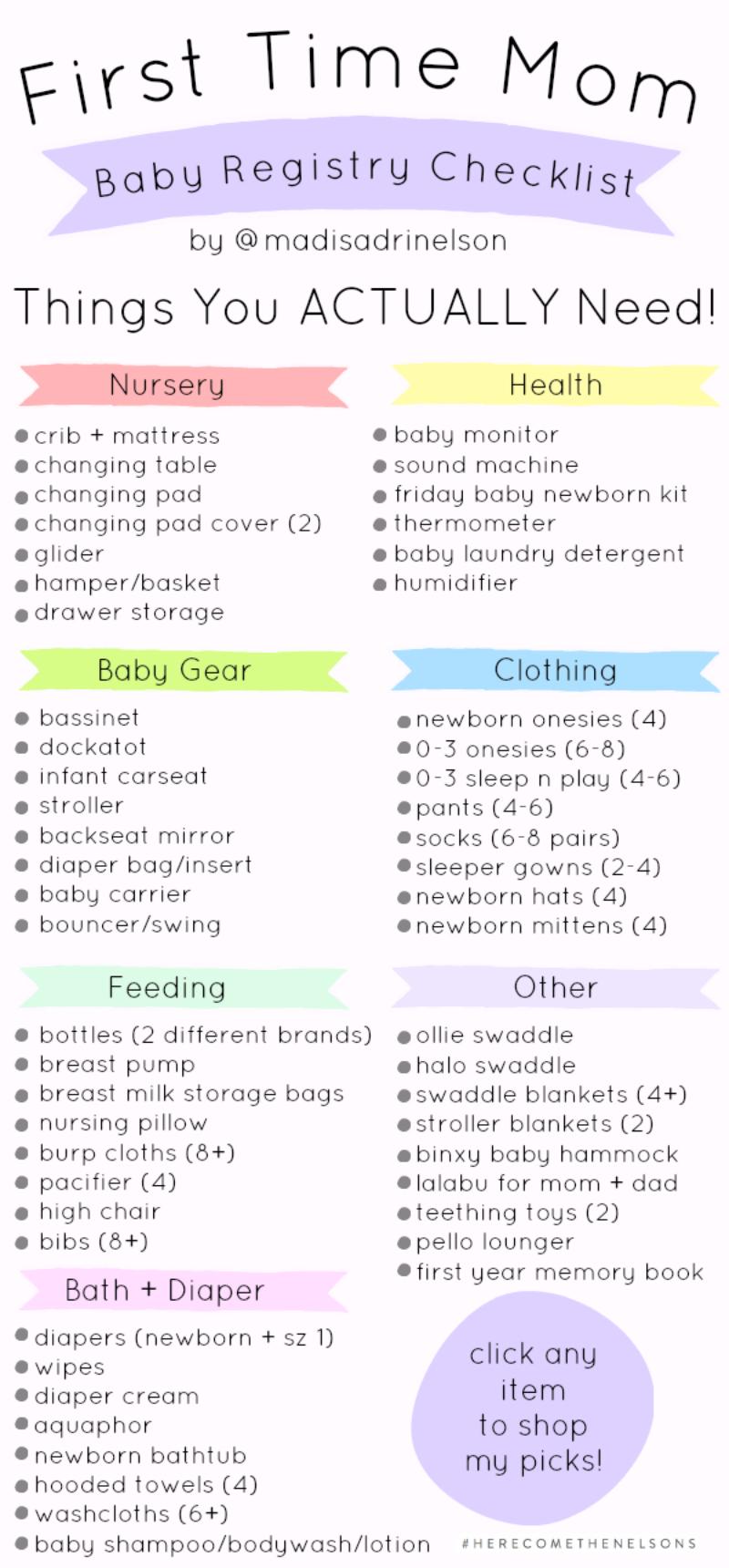 44fc35e98c1 First Time Mom  Baby Registry Checklist — Hey Madi Nelson