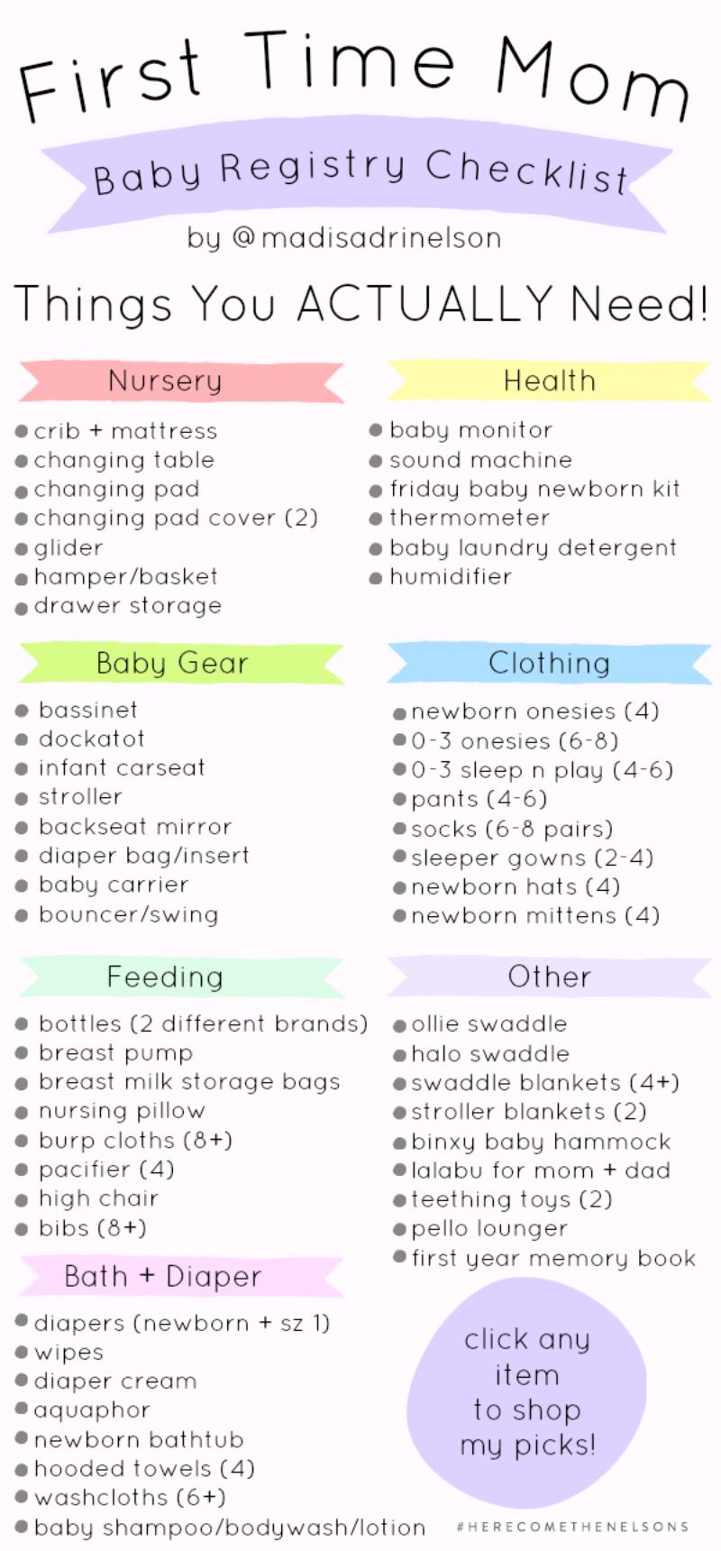 Baby Registry Checklist | First Time Mom Baby Registry Checklist Hey Madi Nelson