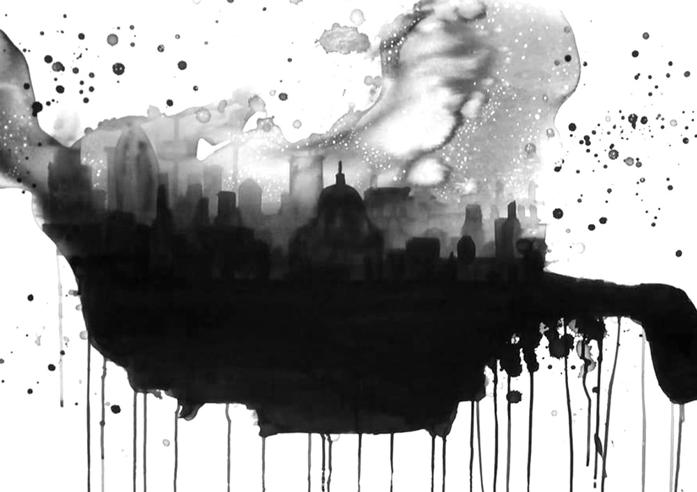 Ink drawing of London skyline in black and white by Rebecca Hunter from Drawn Together Art Collective