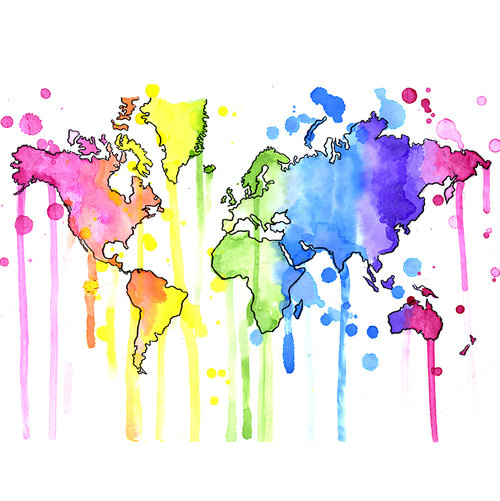 Rainbow World Map Art Print Colourful Map Drawn Together Art