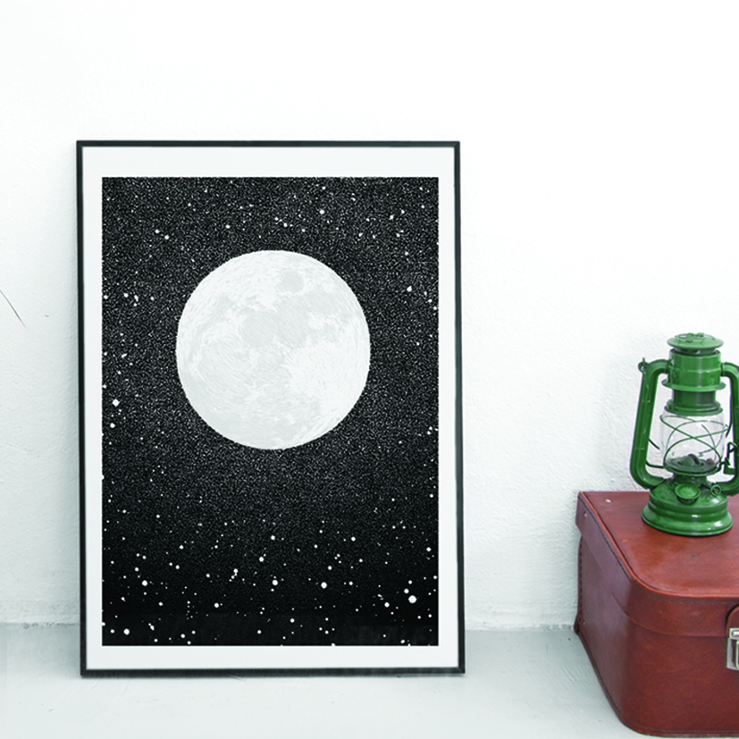 Full Moon art print in Black and White Art by Drawn Together Art Collective