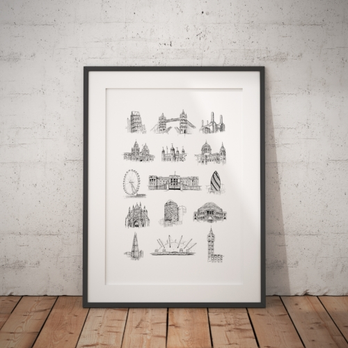 London Landmarks Frame Drawn Together Art Collective Art Prints London Print