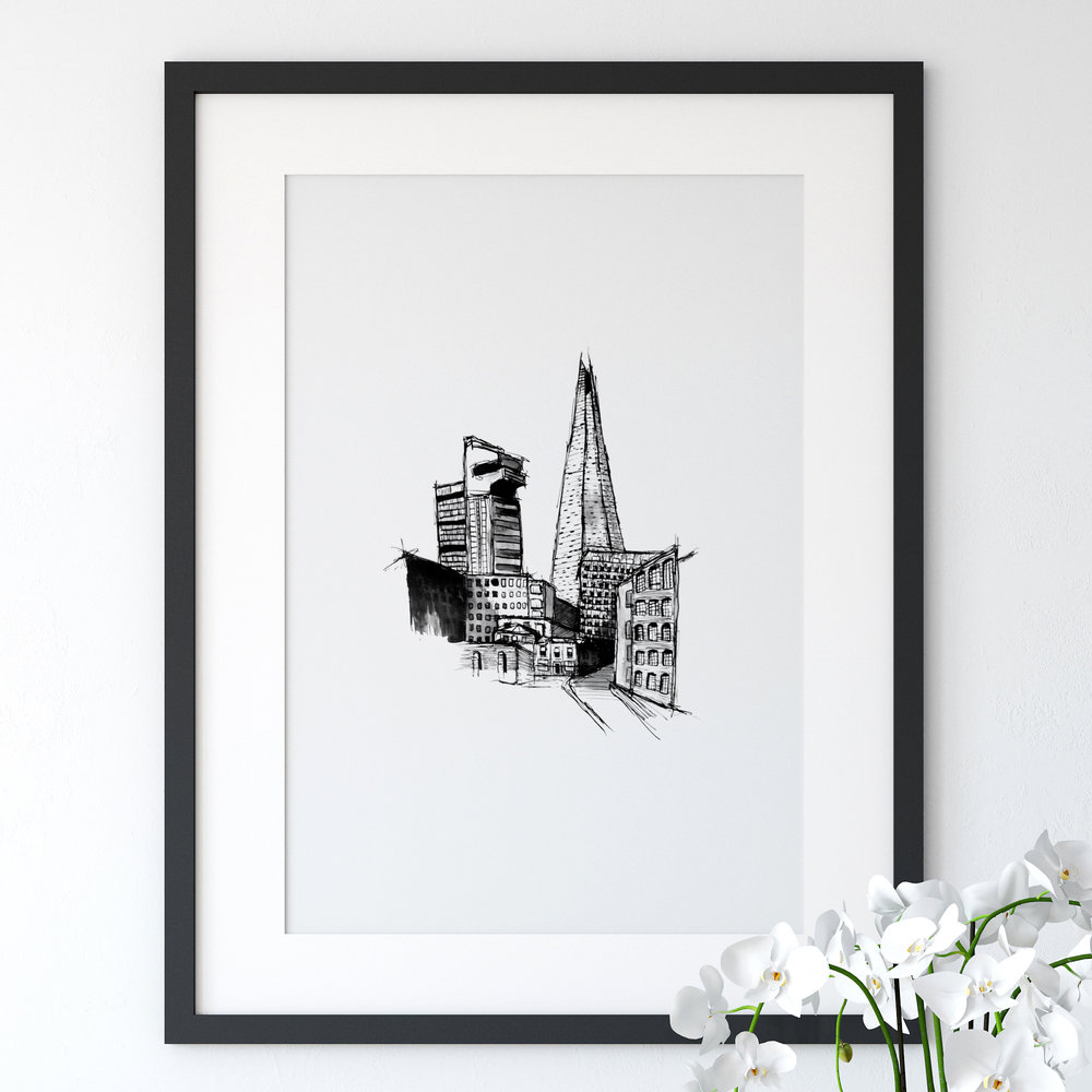 Drawn Together Art Collective Art Prints London A framed Print of an ink drawing of The Shard in London by drawn together art collective