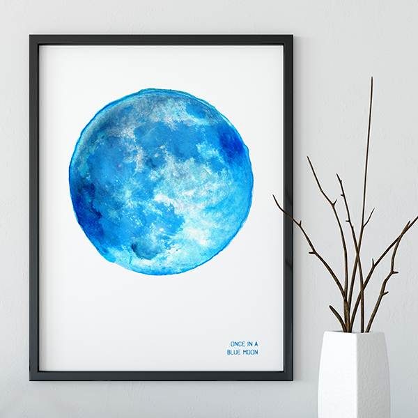 Drawn Together Art Collective Art Print Supermoon Blue Moon Framed.jpg
