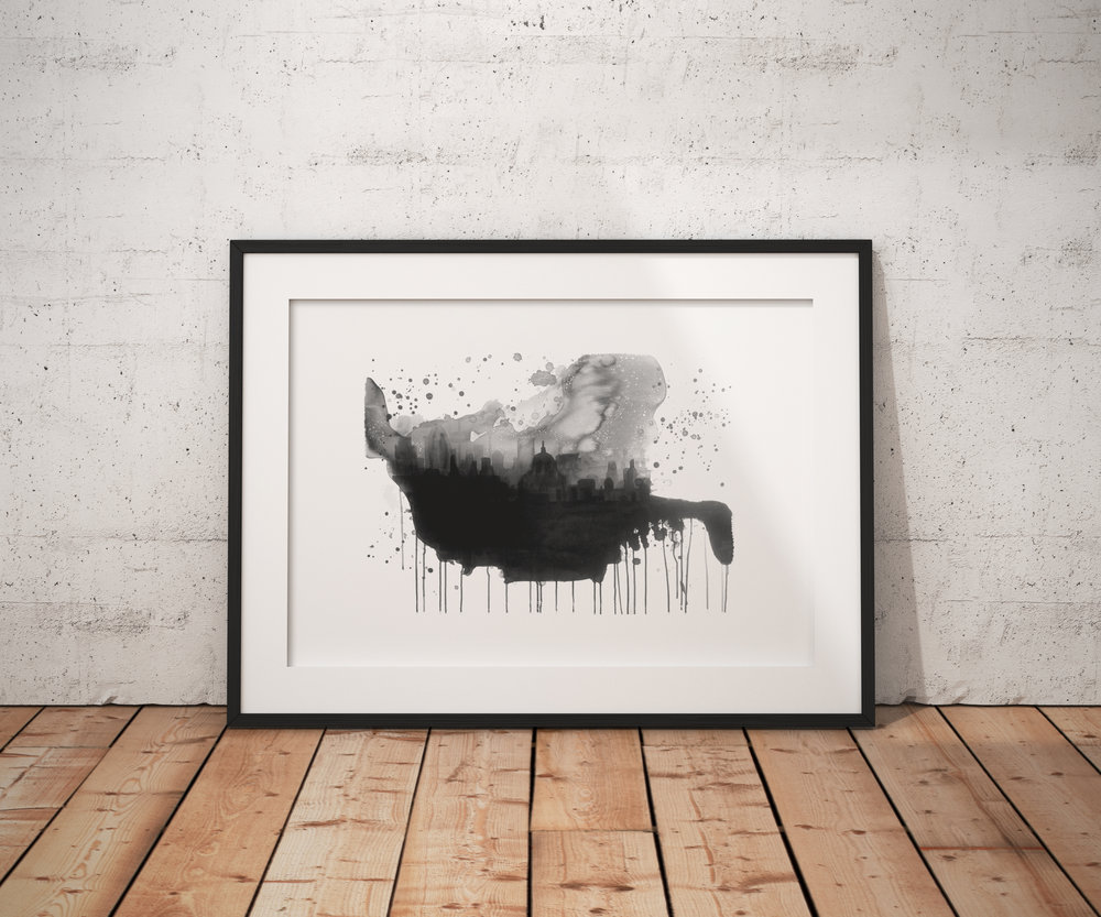 London Art, Black and White London Art, London Skyline