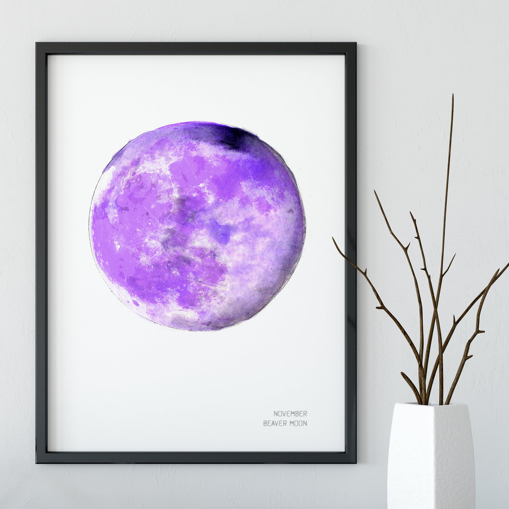 November Beaver Moon Art Print Full Moon Drawn Together Art Collective