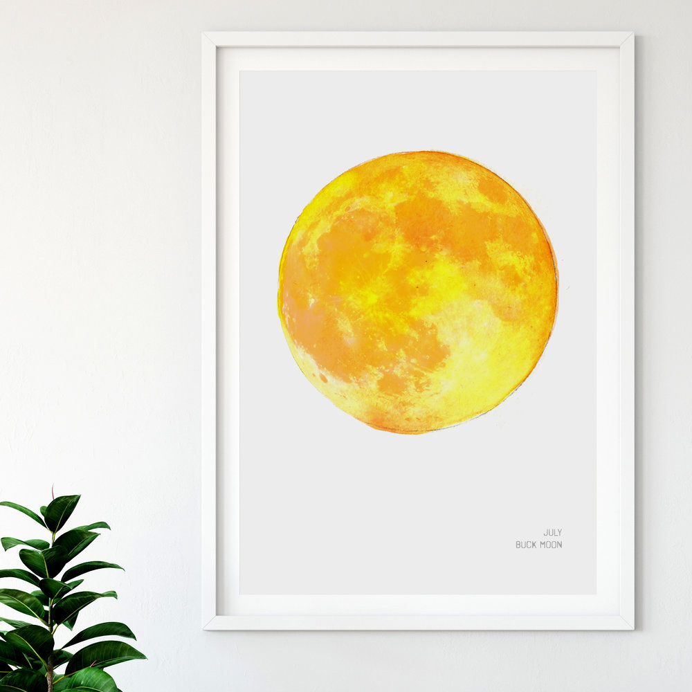 July Buck Moon Art Print poster Drawn Together Art Collective.jpg