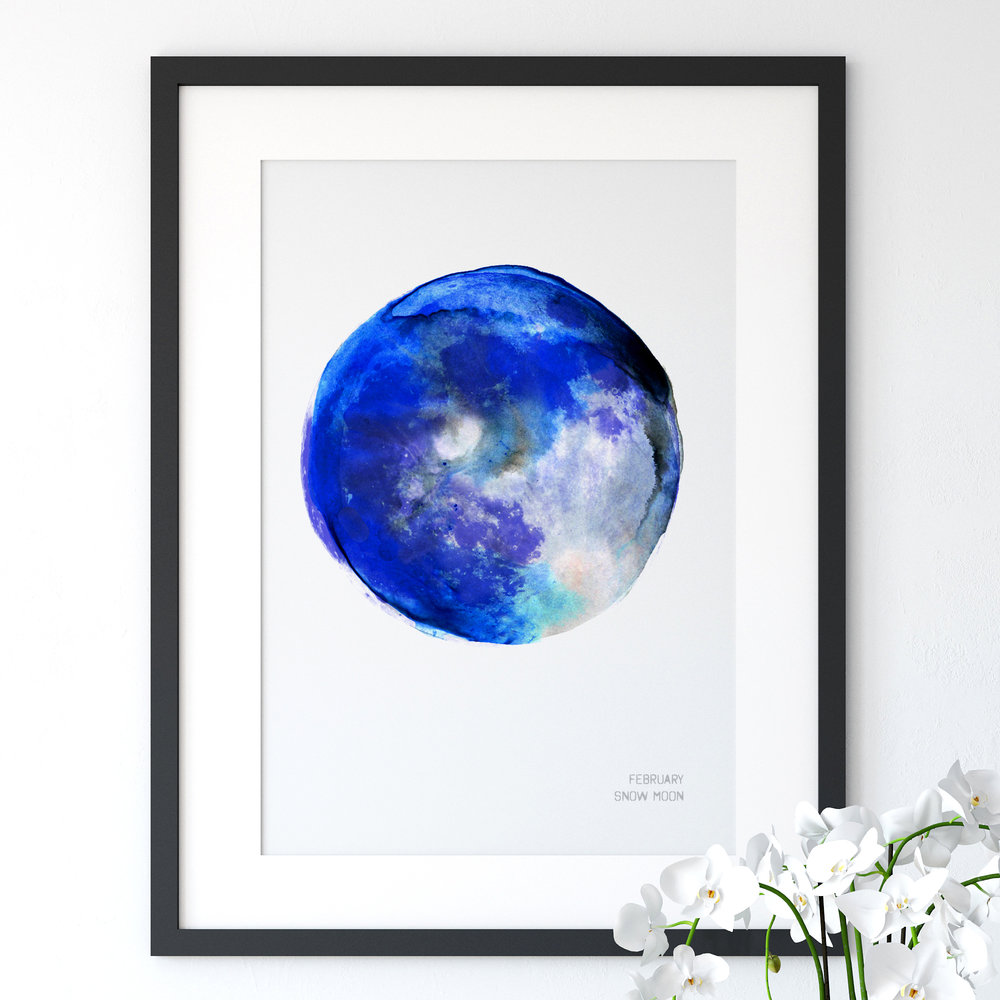 February Snow Moon Art Print poster Drawn Together art Collective.jpg