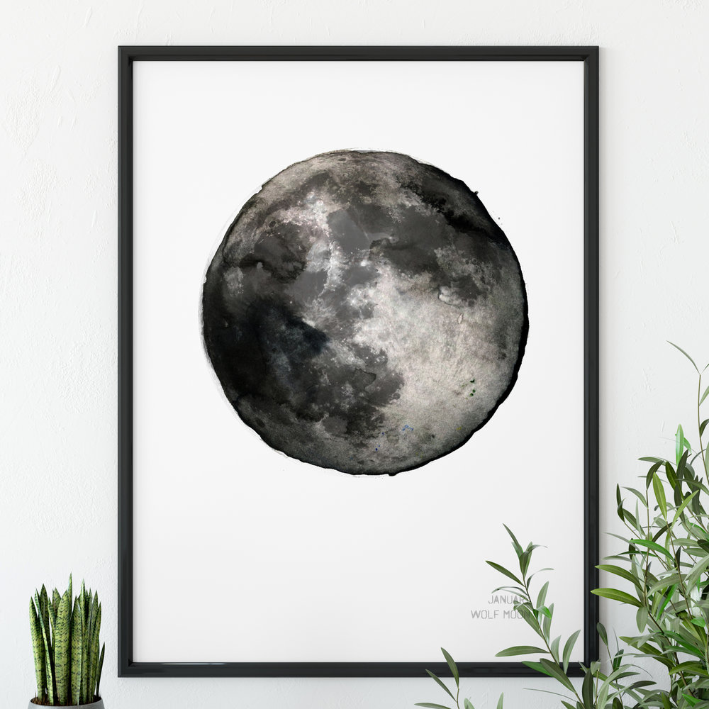 January Wolf Moon Art Print poster Drawn Together art Collective.jpg