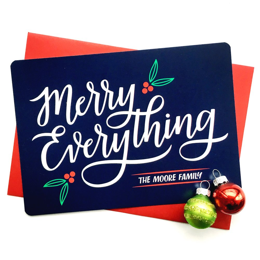 Custom Hand Lettered Holiday Card | alexandra em. lettering + design