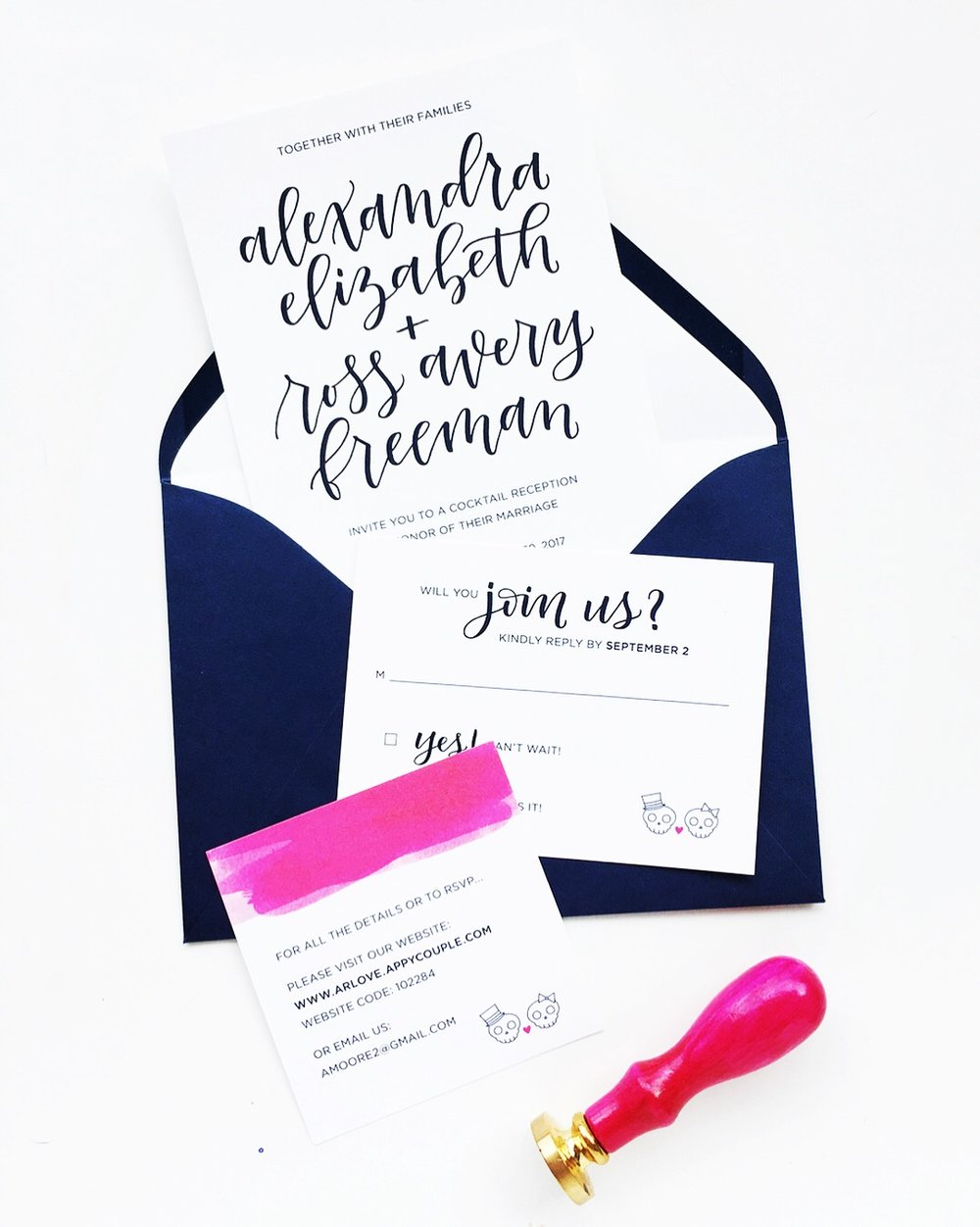 Hand Lettered Wedding Suite + Custom Wax Seal | alexandra em. lettering + design
