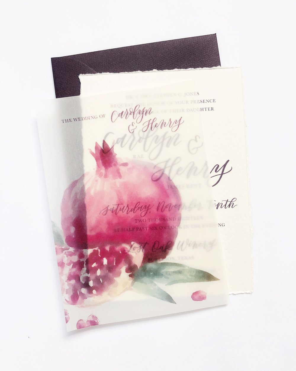 Custom Hand Lettered Invitation Suite with Vellum Overlay | alexandra em. lettering + design