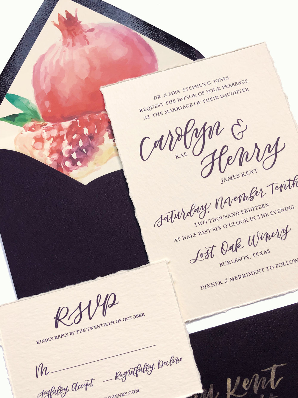 Custom Hand Lettered Invitation Suite with Custom Envelope Liner | alexandra em. lettering + design