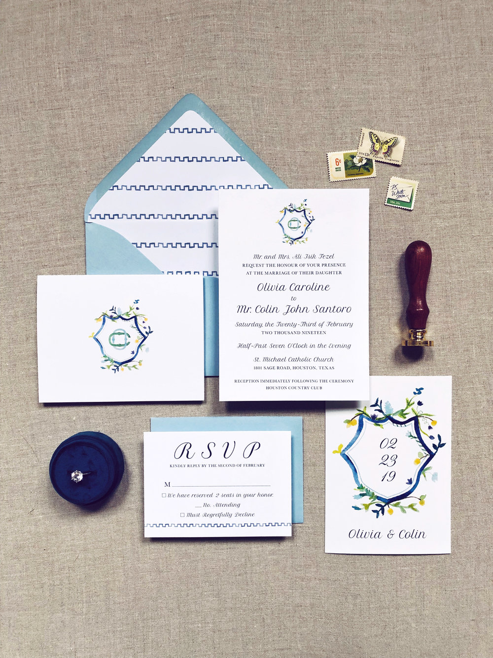 Custom Invitation Suite Design with Save the Date | alexandra em. lettering + design