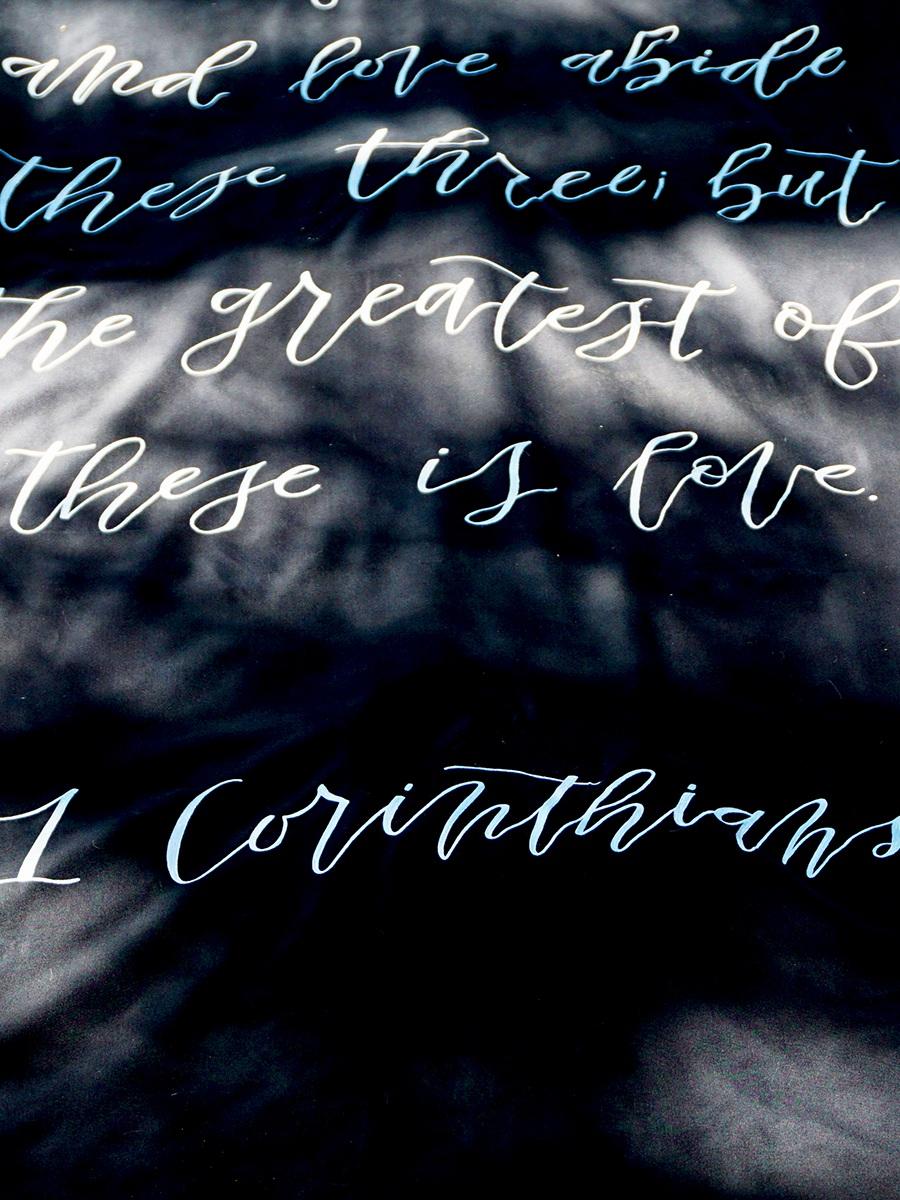 hand lettered aisle runner -