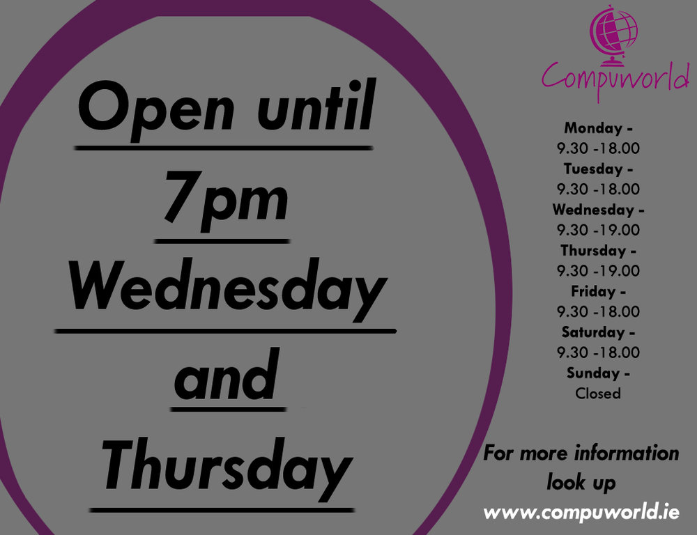 late opening Wednesday and thursday.