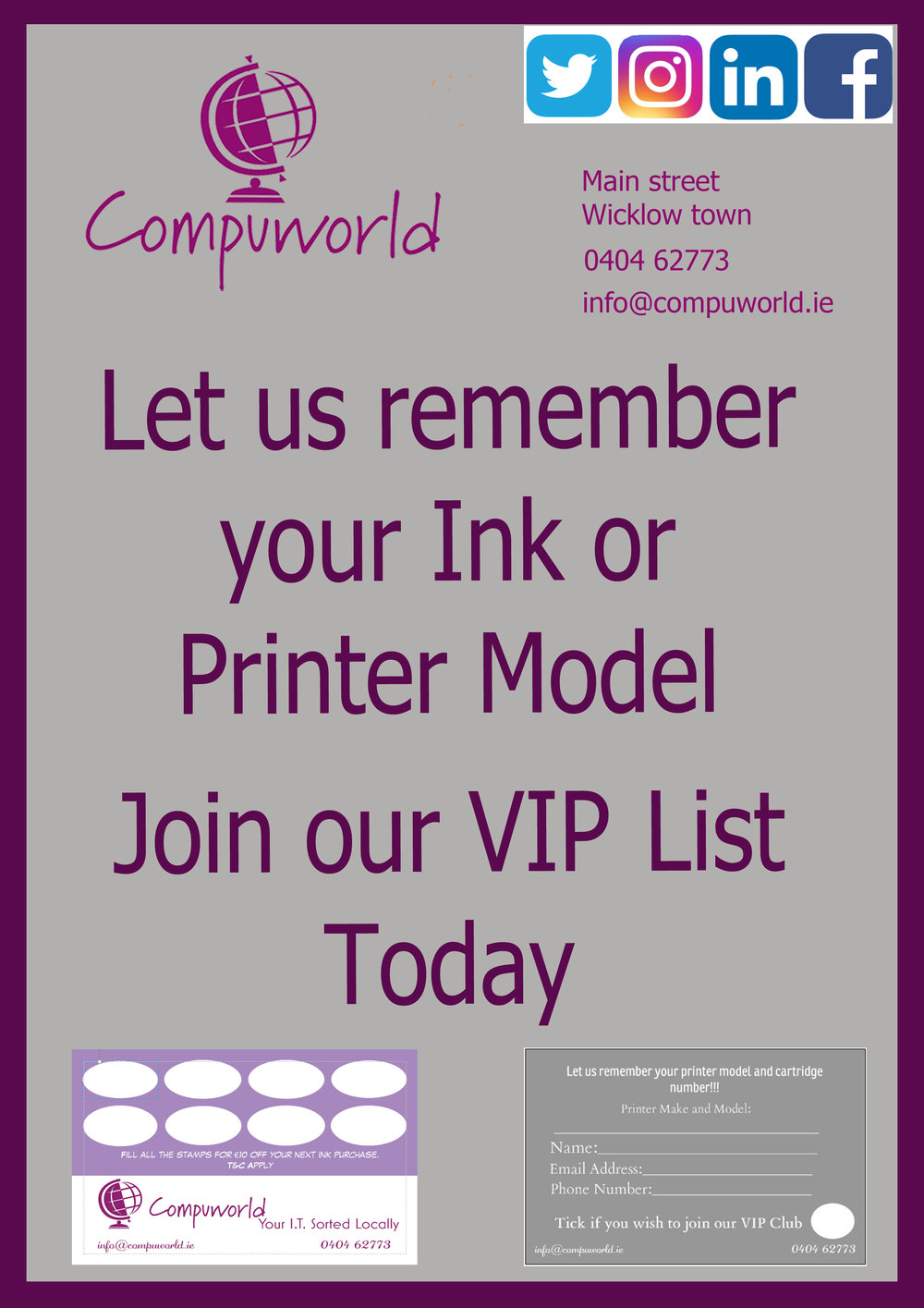 You never have to remember you ink or printer number again.