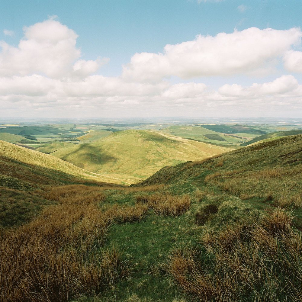 A view north from the border of Scotland and England on the western edge of the Cheviot Hills near Kirk Yetholm