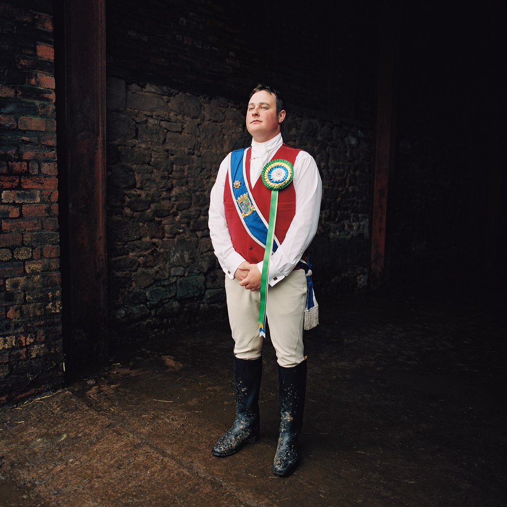 Colin Leifer, a rider from Coldstream in Scotland, photographed after the Berwick-Upon-Tweed Riding of the Bounds