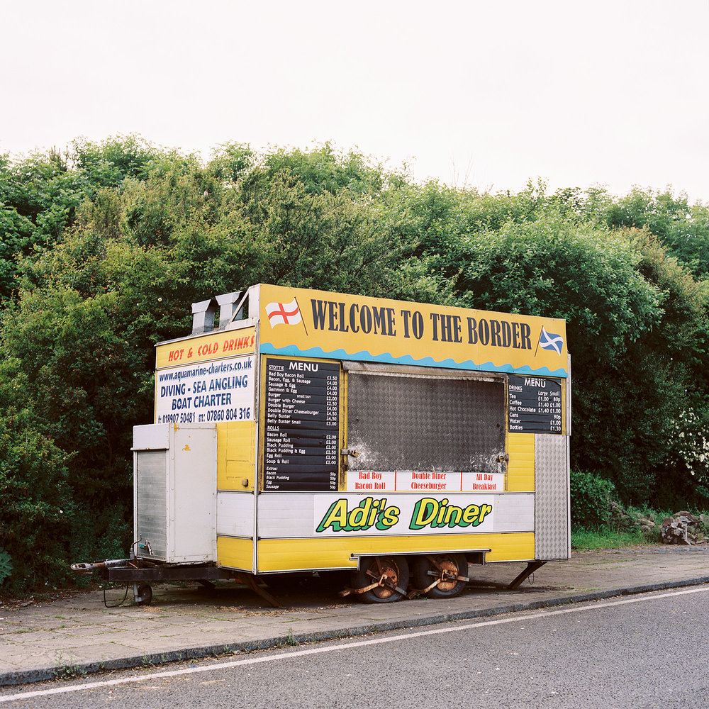 A snack van parked on the A1 road at the Scottish-English border