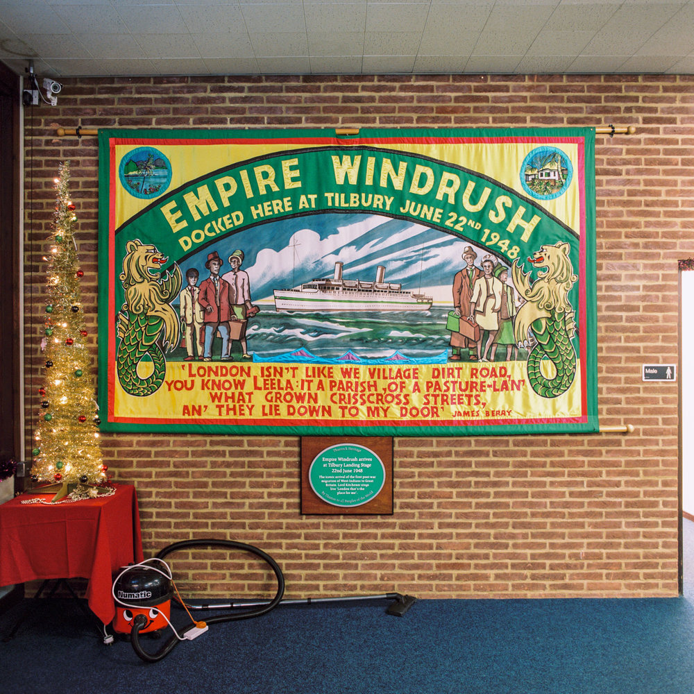 A poster commemorating the Empire Windrush, which docked at Tilbury, inside Tilbury Cruise Terminal