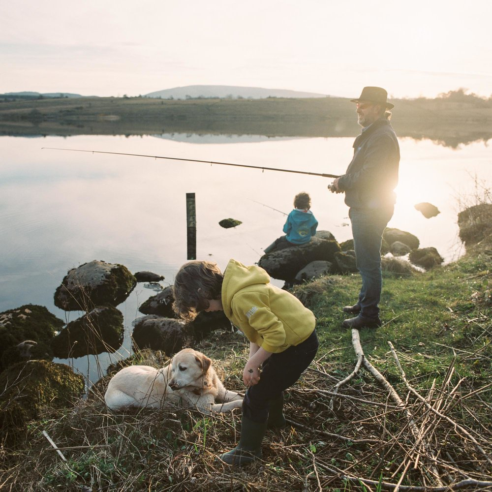 Owen Leonard fishes with his sons Liam and Tom on Northern side of Lattone Lough.
