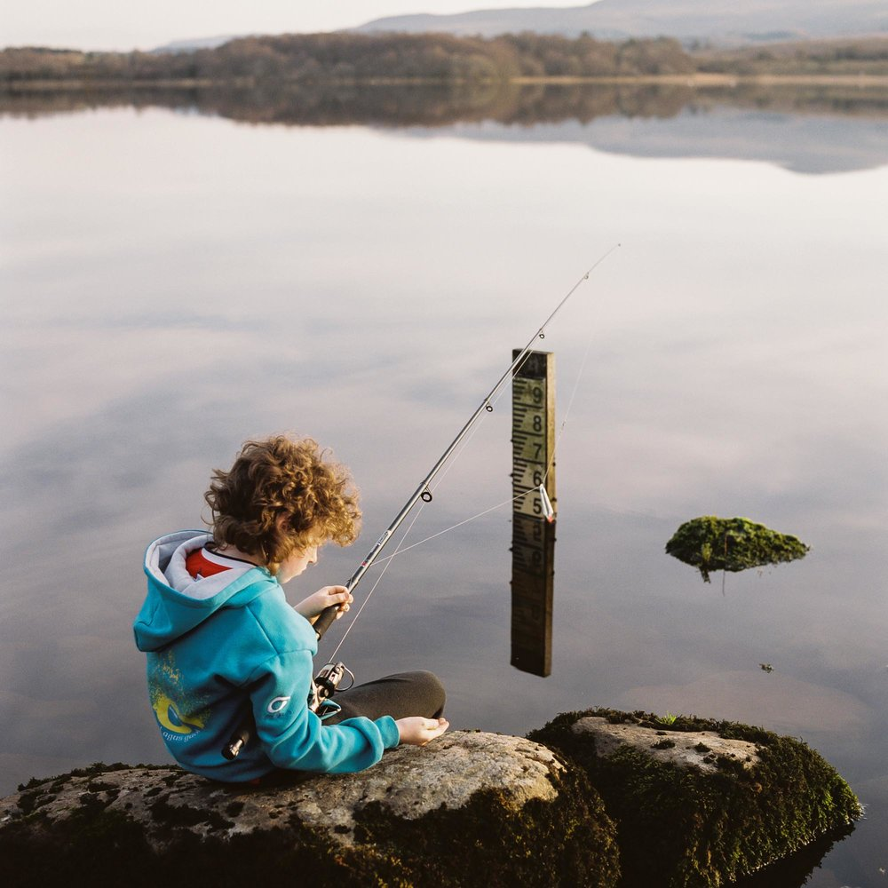 Liam Leonard fishes in Lattone Lough