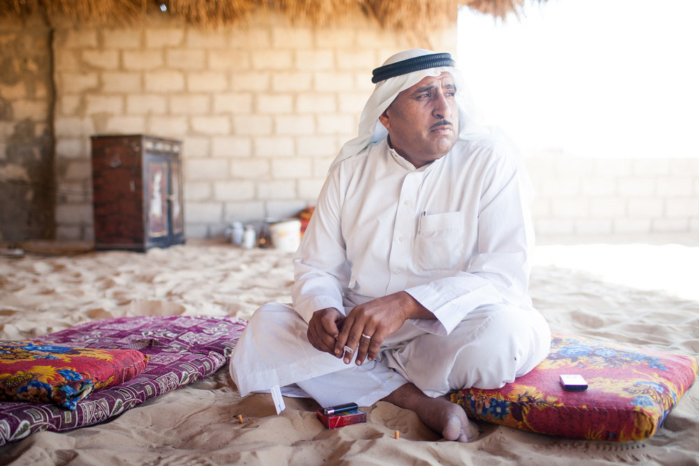 Sheikh Aref Musallem Abu 'Akr of the 'Akoura family at his home in Sheikh Zuweid, Egypt