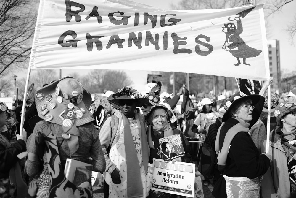 The Triangle Region gaggle of Raging Grannies made a dramatic appearance, singing with biting wit and boundless energy.