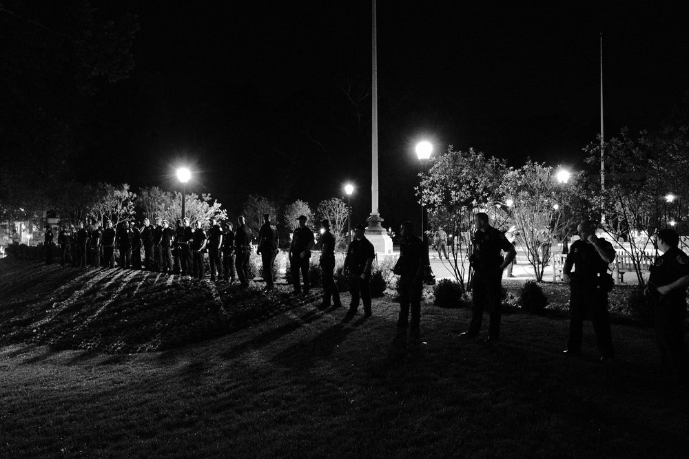 Police waited until the fighting was over and most of the white supremacists dispersed before lining up with cudgels at the ready to push injured students, protesters, citizens, and journalists away from the Thomas Jefferson Memorial.  Quiet, and a sense of defeat, descended as people left in small groups, trying to reach their cars and homes in safety.