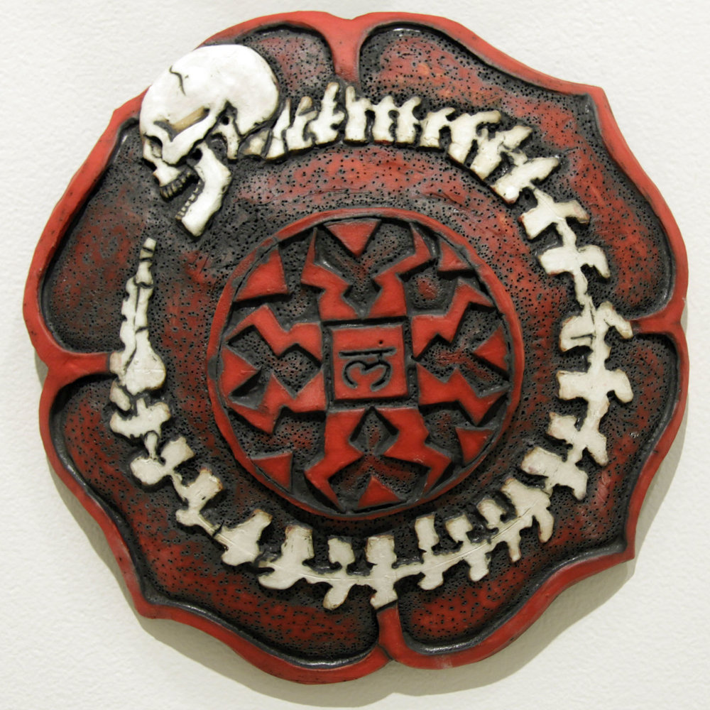 Muladhara   12 inches in diameter / ceramic and acrylic