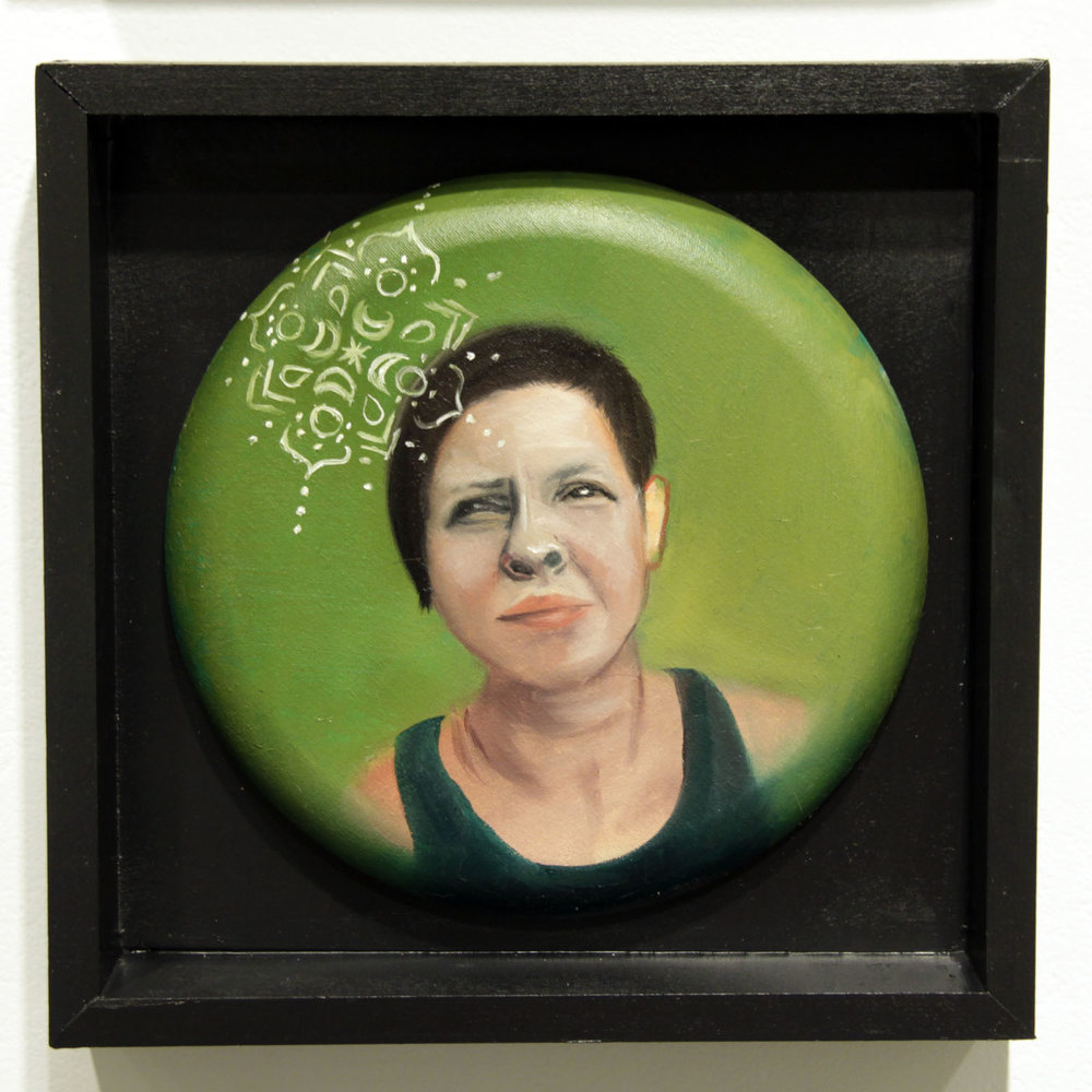 """...trusting and knowing one's own heart...""   12 inches in diameter / oil on cotton canvas"