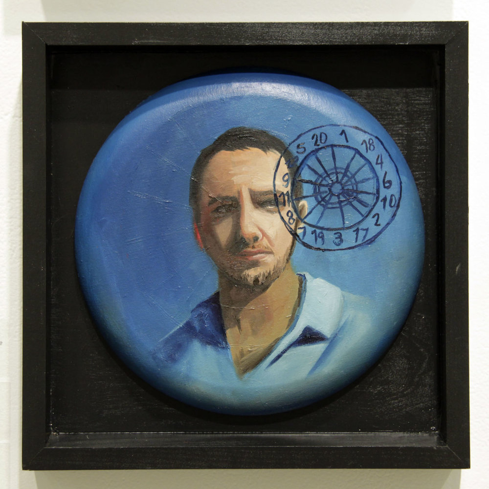 """...toward understanding the vast scheme of things...""   12 inches in diameter / oil on cotton canvas"