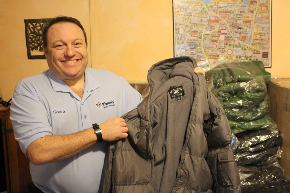 Gordon Meth from Kiwanis Club of Greater Parsippany with the first round of coats for the Jersey Shore Rescue Mission